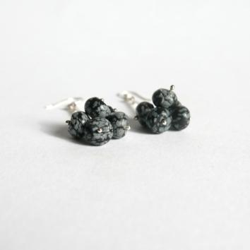 Brinco de Prata & obsidiana Floco de Neve