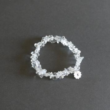 Pulseira Básica Cristal com Plaquinha Folehada em Prata
